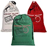 LITTLEGRASS 3 Pack Christmas Decorations Santa Sack Personalized for Kids Canvas Burlap Blank Bag Drawstring Special Delivery Extra Large Size Red Green White 27.5''x19.5''