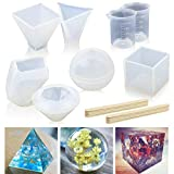 6 Pack Resin Casting Molds JOFAMY Large Clear DIY Silicone Molds for Epoxy Resin Including Spherical, Cubic, Diamond, Pyramid,Triangular Pyramid, Stone Shape Mold, with Measurement Cups& Wood Sticks