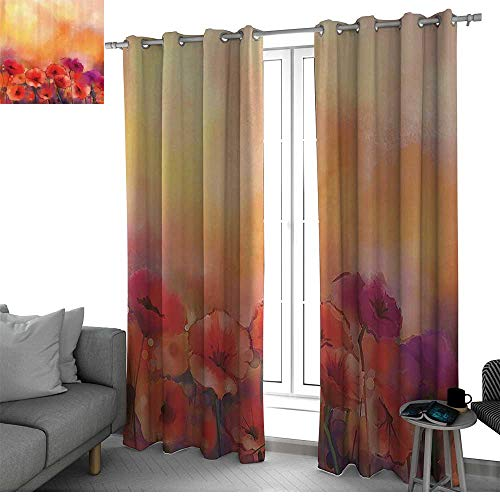 Watercolor Flower Decor Collection Fit Window Curtain Assorted Colors, Styles & Sizes Flower Season Poppy Flowers Warm Colors Background Picture Blackout Curtains for Bedroom Peach Aubergine