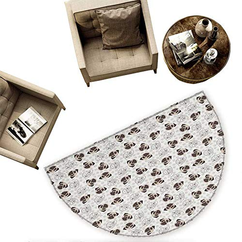 Dog Semicircular Cushion Pug Portraits Traces Paw Print Background Canine Pet Illustration Mammal Animal Entry Door Mat H 78.7'' xD 118.1'' Beige Brown Tan