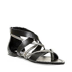 Steve Madden Women's Honore Flat Sandal, Black, 6.5 M US