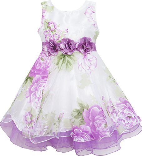 (Sunny Fashion HA53 Girls Dress Tulle Bridal Lace With Flower Detailing Purple Size)