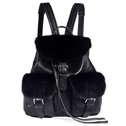 SPRINGWIND Black Genuine Leather Backpack with Mink Fur Casual Shoulder Bag by SPRINGWIND