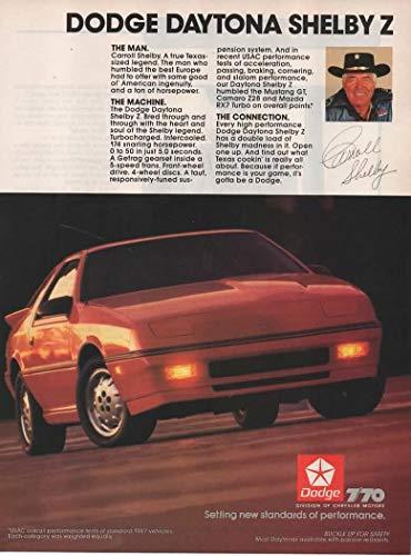 Magazine Print Ad: Red 1987 Dodge Daytona Shelby Z,