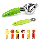 TC JOY Manual Lemon Squeezer Set, Sturdy & Anti-corrosive Stainless Steel Juicer & Citrus Peeler, Suitable for Squeezing Lemon, Lime, Orange, Citrus & More
