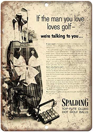 スポルディングトップフライトゴルフクラブとボール 金属板ブリキ看板注意サイン情報サイン金属安全サイン警告サイン表示パネル