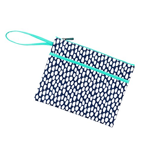 Polyester Lined - Tide Pool Blue White Dots 11 x 8.5 Polyester Lined Zipper Pouch Wristlet
