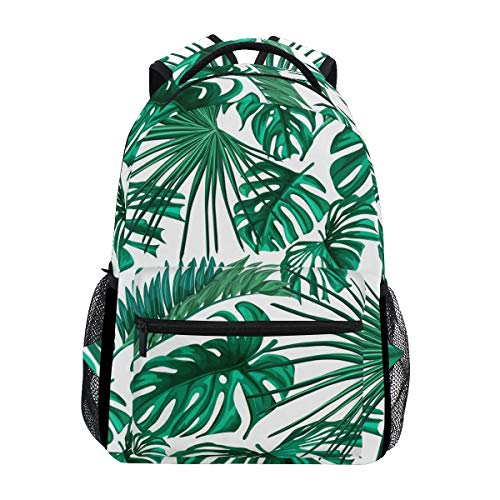 Wamika Tropical Leaves Backpacks for Women Men, Palm Tree Green Computer Laptop Backpack, Casual Book Bag Travel Sports Camping Daypack (Trees Palm Backpack With)
