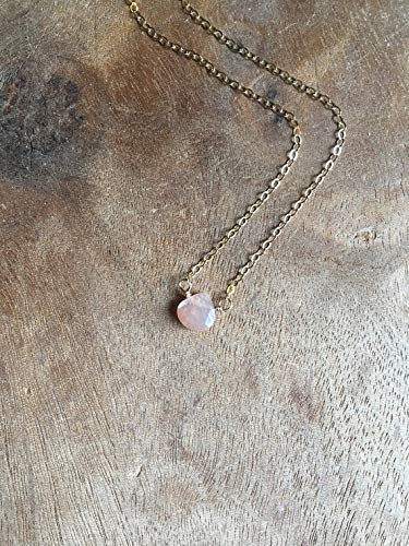 - Super Dainty Peach Moonstone Necklace Gold 16 Inch Gemstone Jewelry Gift For Women