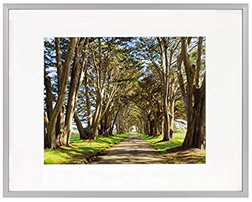 Golden State Art 11x14 Picture Frame - Silver Aluminum (Shiny Brushed) - Fit Photo 8x10 with Ivory Mat or 11x14 Without Mat - Metal Frame Wall Mounting - Real Glass (11x14, Silver)