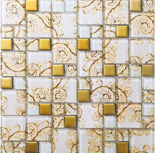 Gold Coated Glass Mosaic White Crystal Random Pattern Bathroom Kitchen Wall Backsplash Box Of 11 Sheets Amazon Com