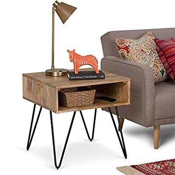 Simpli Home AXCHUN-02 Hunter Solid Mango Wood and Metal 22 inch wide Square Mid Century Modern End Side Table in Natural