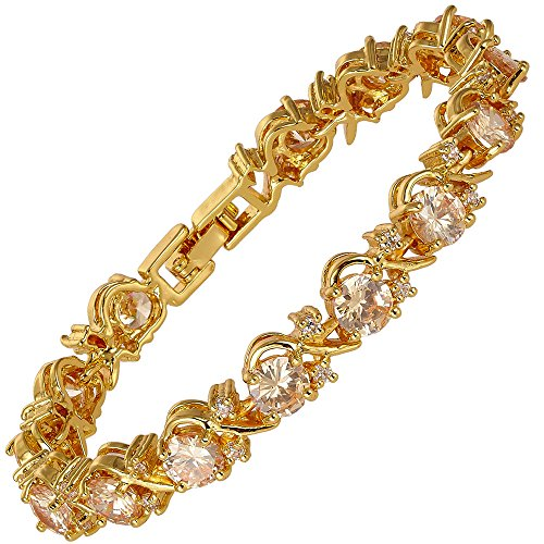 Diamond Modern Tennis Bracelet - RIZILIA BLOSSOM Tennis Bracelet & Round Cut CZ [Champagne Cubic Zirconia] in Yellow Gold Plated, 7