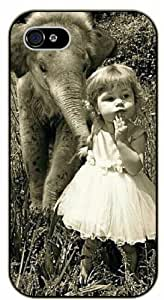 Baby Elephant and baby girl, cute vintage - iPhone 5C black plastic case / Animals and Nature