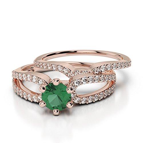 Or Rose 18carats 0,50CT G-H/VS sertie de diamants ronds découpé Émeraude et de mariage Bague de fiançailles et ensemble de Agdr-1148
