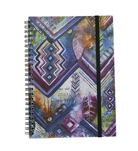 "Bops Artisan Inspired Hardbound Notebook/Journal ""Your Vibe Attracts Your Trib"" Hard Cover, Spiral Bound, 75 Sheets of Wide Ruled, Lined 5""x8"" Pages - Elastic Closure, Artistic and Inspirational -"