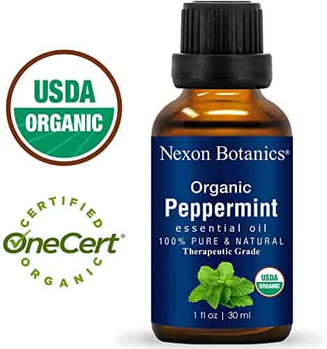 Nexon Botanics Organic Peppermint Essential Oil 30 ml - USDA Certified Pure Natural Essential Oils Peppermint Oil to Repel Mice - Menthol from Mentha Piperita - Cooling Smell with Fresh Mint Oil