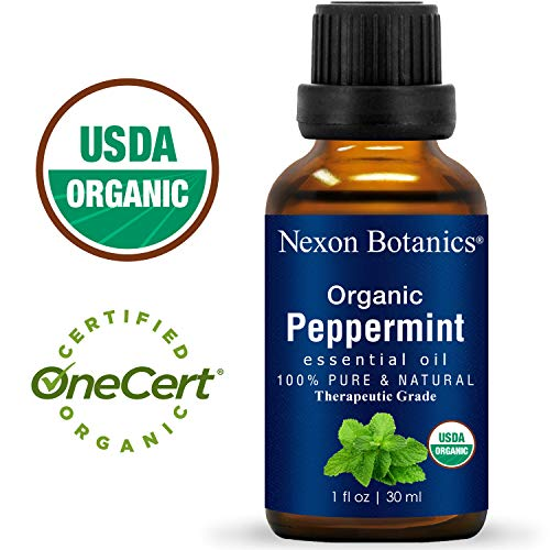 (Nexon Botanics Organic Peppermint Essential Oil 30 ml - USDA Certified Pure Natural Essential Oils Peppermint Oil to Repel Mice - Menthol from Mentha Piperita - Cooling Smell with Fresh Mint Oil)