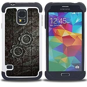 Dragon Case- Dise?¡Ào de doble capa pata de cabra Tuff Impacto Armor h??brido de goma suave de silicona cubierta d FOR Samsung Galaxy S5 I9600 G9009 G9008V- STATEMENT RUSTIC ART FASHION NECKLACE ROAD