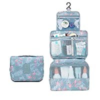 2Pack Makeup Organizer Hanging Bag Travel Toiletry Cosmetic Pouch Large Capacity for Women and Girls Waterproof A-Flamingo Printed with Pad Puff
