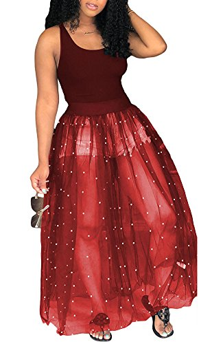 Fadvanes Womens Sleeveless Tank Top with Beadings Mesh See Through Long Maxi Dress Party Clubwear Red XL