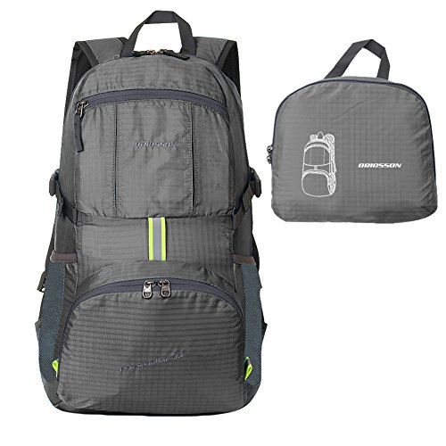 ORICSSON Unisex Rated 35L Durable Lightweight Foldable Backpack Waterproof Handy Daypack Grey-II, 35L