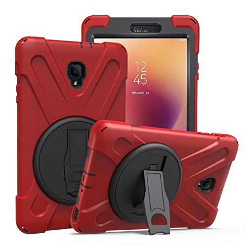 Galaxy Tab A 8.0 2017 T380 T385 Case by KIQ Shockproof Heavy Duty Military Armor Hybrid Shield Cover Palmstrap Kickstand for Samsung Galaxy Tab A 8.0-inch SM-T380 SM-T385 (Shield Red)