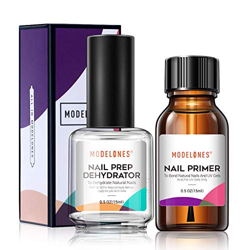 Modelones Professional Natural Nail Prep Dehydrate & Bond Primer,Nails Nail Protein Bond, Superior Bonding Primer for Acrylic Powder and Gel Nail Polish 0.5 oz (Secret Lift Kit)