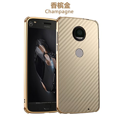 Price comparison product image Moto Z2 Force Case, DAMONDY Luxury Carbon Fiber Design Ultra thin Imitation Metal Brushed Premium Aluminum Shockproof Protective Bumper Hard Back Case Cover for Motorola Moto Z2 Force -Gold