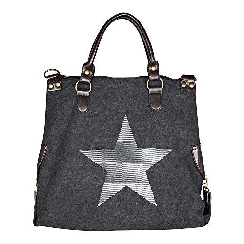 Bolso de las señoras de la estrella NEW-2016 Jeans Beuteltasche Strass Aplicación de la lona del bolso de hombro antiguos de la mirada de las señoras con las estrellas Schwarz/Weiss 45x40x16 cm
