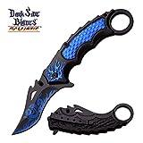Smol Store Spring Assisted Tactical 8 Pocket Karambi knife knives Dragon Flames BLUE A051BL