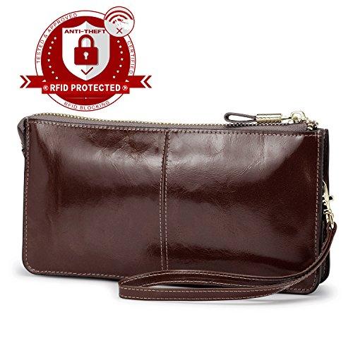 Lecxci Luxury Womens Genuine Leather Clutch Cell Phone Handbags, Zipper Wristlets Wallets Purse for Women (Coffee RFID Blocking)