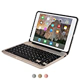 iPad Mini 4 keyboard case, [NEW] COOPER KAI SKEL A1 Backlit Aluminum Bluetooth Wireless Keyboard Macbook Clamshell Case Cover with Rechargeable Battery Power Bank for Apple iPad Mini 4 gen (Gold)