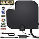 [2019 Upgraded] HD Antenna,HD Digital Indoor TV Antenna Version, 140+ Mile Range HDTV Antenna with Amplifier Signal Booster, Amplified 17ft Coax Cable … (Black)