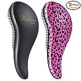 Image of BOMBEX Detangler Brush - No Tangles & Knots, Best Detangling Brush for Tangled Hair,Set of 2,Pink Leopard & Matte Black