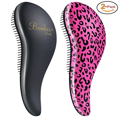 Hair Knot (BOMBEX Detangler Brush-2 pack - No Tangles & Knots, Best Detangling Brush for Tangled Hair,Pink Leopard & Matte Black)