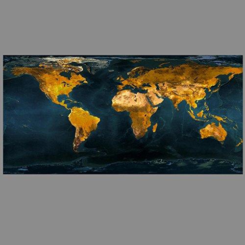 productos creativos 100x210cm blanco QIAISHI Pintura Pintura Pintura al óleo Abstracta del Mapa del Mundo del Globo del oro del Vintage en Arte Moderno de la Parojo del Lienzo para el Sitio de la Oficina  100% precio garantizado