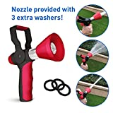 EasyGo Fireman Nozzle with Handle - High Pressure Fire Style Hose Attachment With On/Off Lever and 3 Free Additional