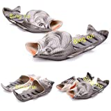 3 colors Fish slippers Beach Shoes Pool Non-slip Sandals Creative Hand painted Fish Slippers Men and Women Casual Shoe Beach and home use (Silver, woman (11-12) / Male (10-11))