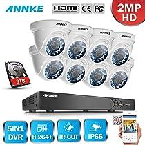 ANNKE 16CH 3.0MP Camera Surveillance System W/ 8x HD 1080P 2.0MP IP66 Weatherproof Surveillance Camera, Super Night Vision, Including 3TB HDD