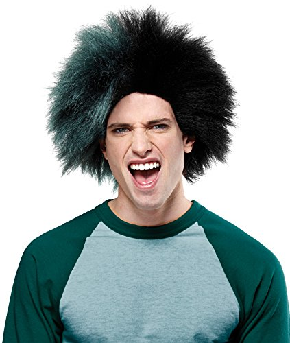 Crazy Sports Fan Wig color Green & Black - Fun Spiky Eagles Bucks Bearcats Jets Dartmouth Troll Style -