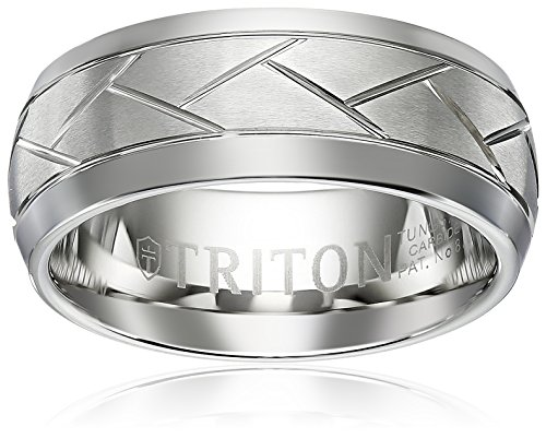 Triton Men's Tungsten 8mm Diagonal Cuts Comfort Fit Wedding Band, Size 10 by Amazon Collection