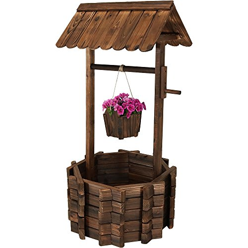 Sunnydaze Outdoor Wooden Wishing Well Garden Planter with Hanging Flower Bucket, 45 Inch