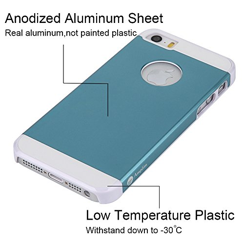 iPhone SE/5S Case: Amplim® New Slim Fit Luxury Blue Color Hard Aluminum Metal + Pretty White Plastic + Soft Silicone Rubber Back Shell Protection. Dual Layer Protector (APPLE-PHONE-5-PROTECTIVE-COVER)