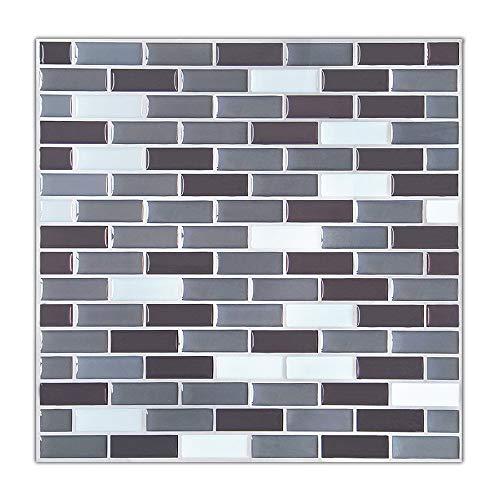 ACEKB 3D Tiles Mosaic 9x9-Inch Backsplash Tiles for Bathrooms and Kitchens Wall Tile Fresh Look Color Prints Modern Art Gift ()