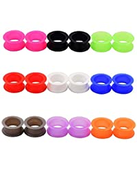 """D&M Jewelry 18pcs Silicone Ear Skins Gauges Soft Ear Plug Stretcher Expander Ear Piercing Jewelry Multi-colors 8g-1"""""""