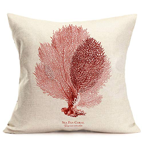 Pillow Covers Summer Coastal Theme Red Sea Fan Coral Throw Pillow Case 18 X 18 Inch Cotton Linen Square Cushion Covers for Home Sofa Couch (Sea Fan Coral)