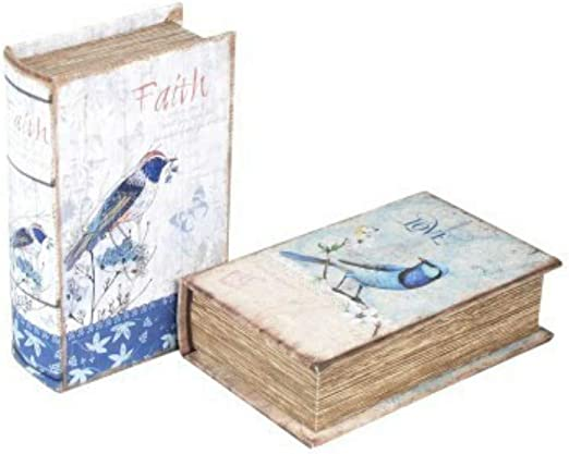 CAPRILO Set de 2 Cajas Libro Decorativas de Madera Romántico. Cajas Multiusos. Joyeros. Regalos Originales. Decoración Hogar. 5 x 17 x 11 cm.: Amazon.es: Hogar