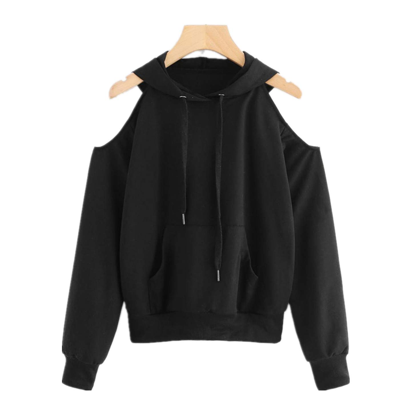 Clearance Sale! Showking@ Women's Hooded, Off Shoulder Sweatshirt Patch Tops Blouse Tops (L, Black)
