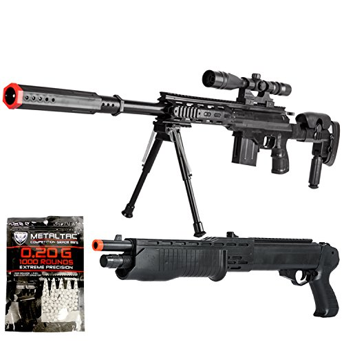 Gun Sniper Set - BBTac Airsoft Sniper Gun Package - Powerful Spring Sniper Rifle, Shotgun, 6mm BB Pellets, Great Starter Pack